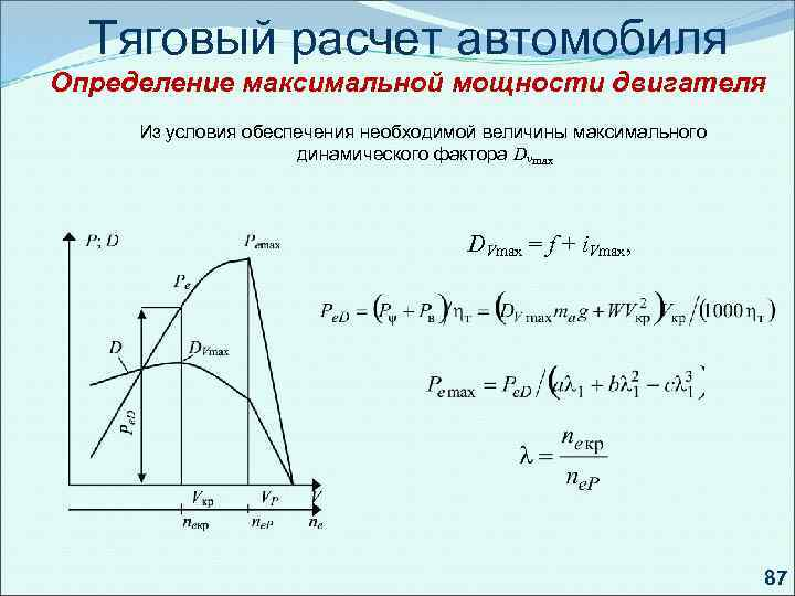 Тяговый расчет автомобиля Определение максимальной мощности двигателя Из условия обеспечения необходимой величины максимального динамического