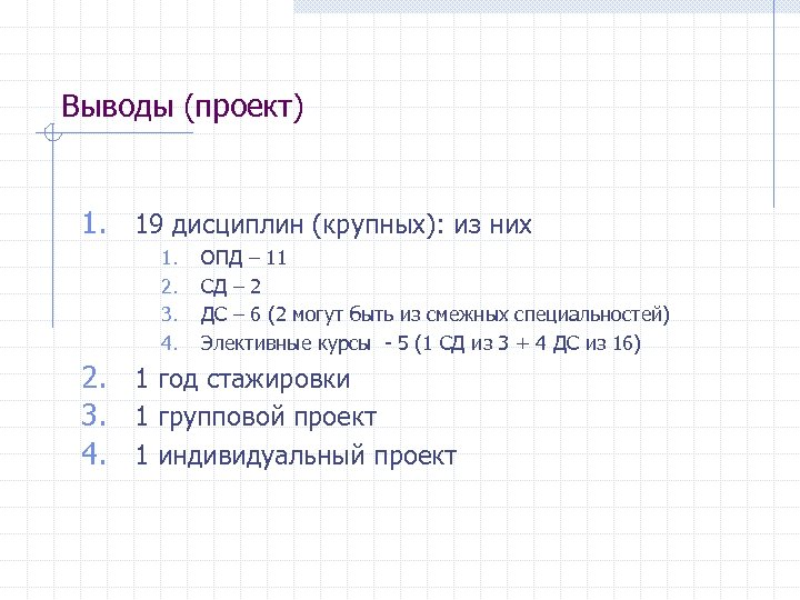 Выводы (проект) 1. 19 дисциплин (крупных): из них 1. 2. 3. 4. ОПД –