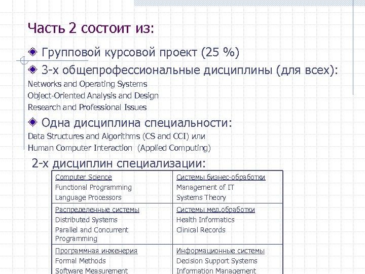 Часть 2 состоит из: Групповой курсовой проект (25 %) 3 -х общепрофессиональные дисциплины (для
