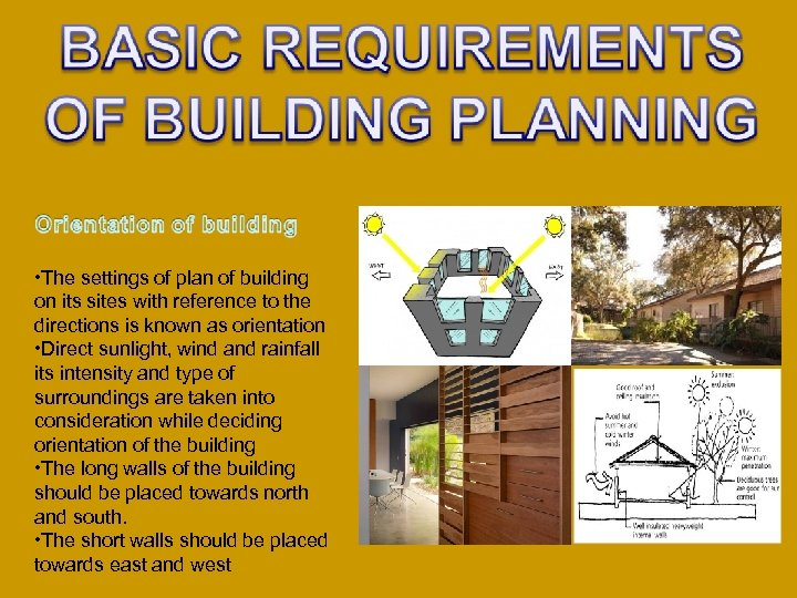 • The settings of plan of building on its sites with reference to