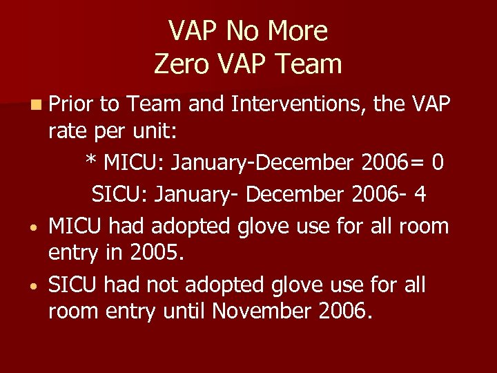 VAP No More Zero VAP Team n Prior to Team and Interventions, the VAP
