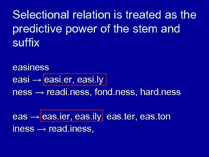 Selectional relation is treated as the predictive power of the stem and suffix easiness