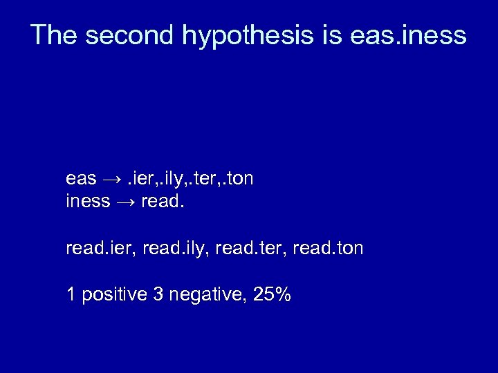 The second hypothesis is eas. iness eas →. ier, . ily, . ter, .