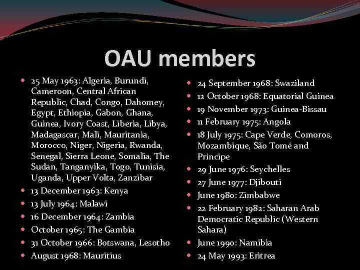OAU members 25 May 1963: Algeria, Burundi, Cameroon, Central African Republic, Chad, Congo, Dahomey,