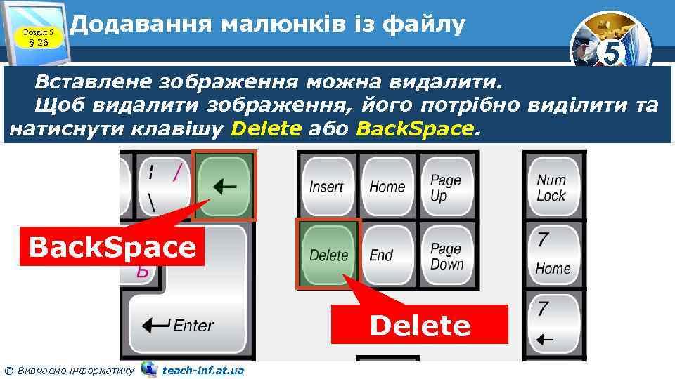 Розділ 5 § 26 Додавання малюнків із файлу 5 Вставлене зображення можна видалити. Щоб