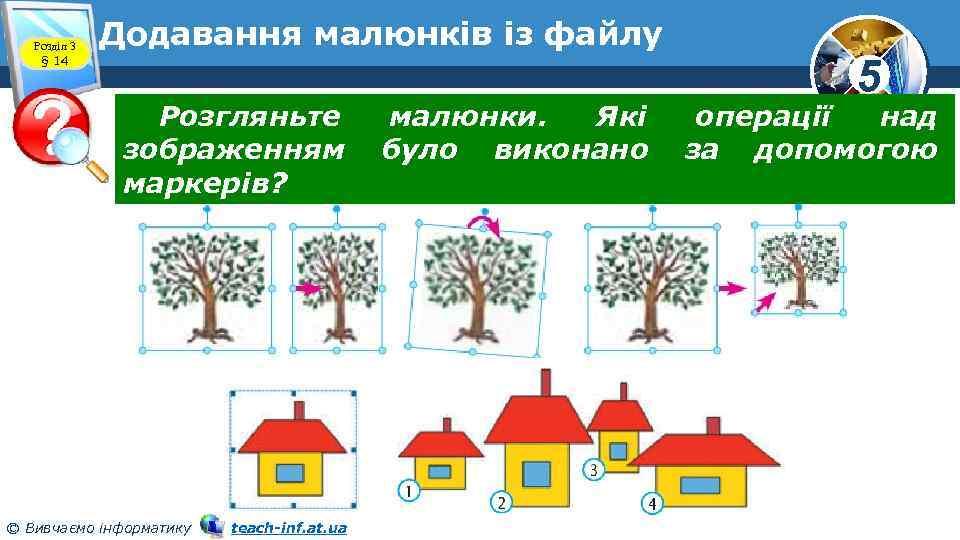 Розділ 3 § 14 Додавання малюнків із файлу Розгляньте зображенням маркерів? © Вивчаємо інформатику