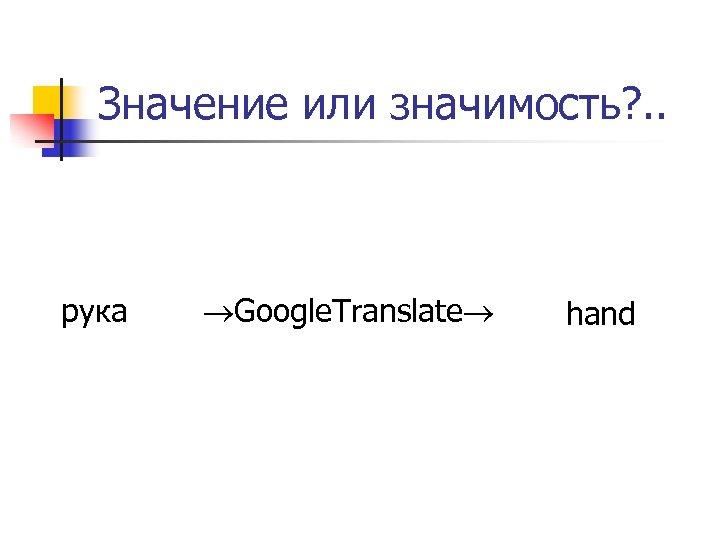 Значение или значимость? . . рука Google. Translate hand