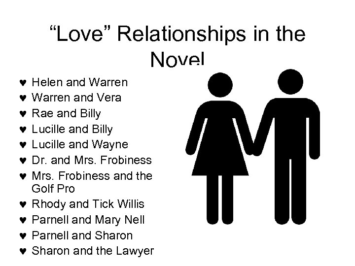 """""""Love"""" Relationships in the Novel Helen and Warren and Vera Rae and Billy Lucille"""