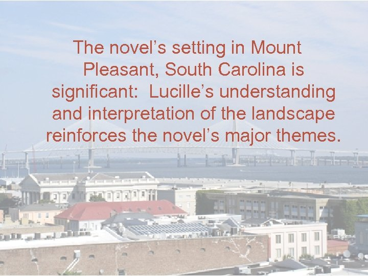 The novel's setting in Mount Pleasant, South Carolina is significant: Lucille's understanding and interpretation
