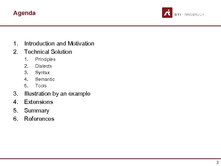 Agenda 1. 2. Introduction and Motivation Technical Solution 1. 2. 3. 4. 5. 6.