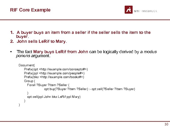 RIF Core Example 1. A buyer buys an item from a seller if the