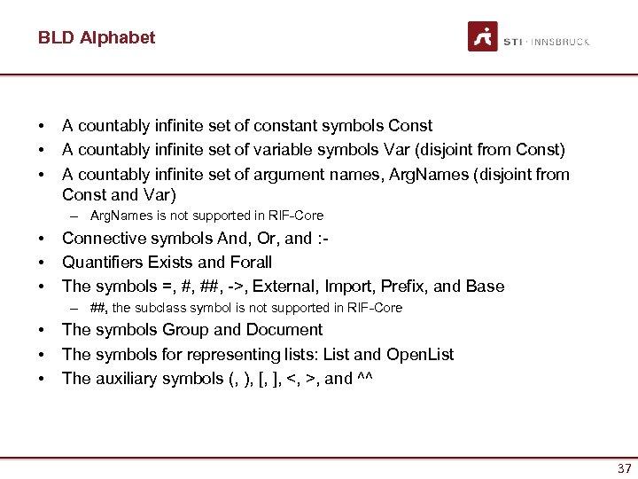 BLD Alphabet • • • A countably infinite set of constant symbols Const A