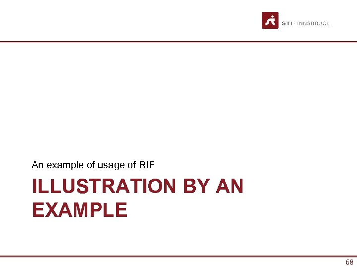 An example of usage of RIF ILLUSTRATION BY AN EXAMPLE 68
