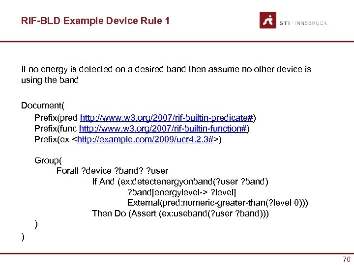 RIF-BLD Example Device Rule 1 If no energy is detected on a desired band
