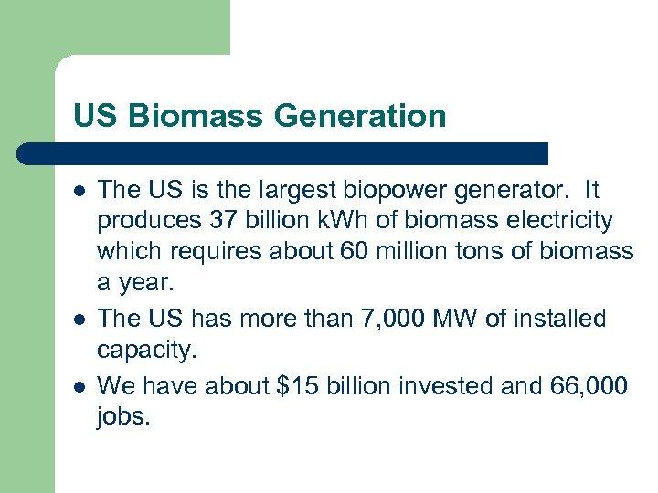US Biomass Generation l l l The US is the largest biopower generator. It