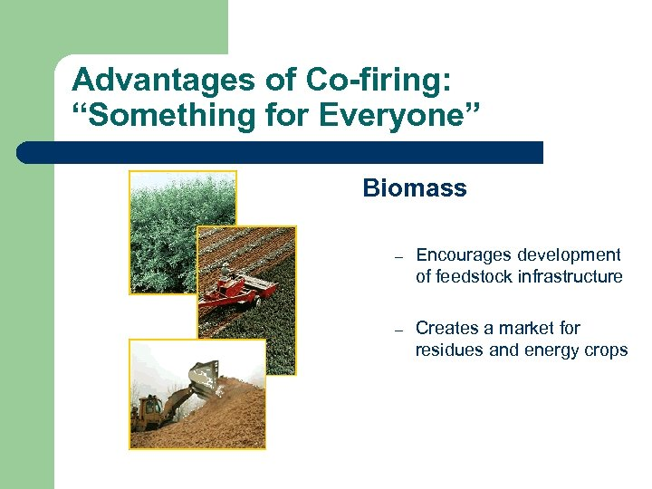 """Advantages of Co-firing: """"Something for Everyone"""" Biomass – Encourages development of feedstock infrastructure –"""