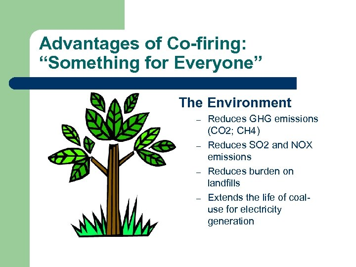 """Advantages of Co-firing: """"Something for Everyone"""" The Environment – – Reduces GHG emissions (CO"""