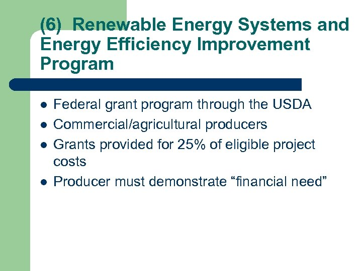 (6) Renewable Energy Systems and Energy Efficiency Improvement Program l l Federal grant program