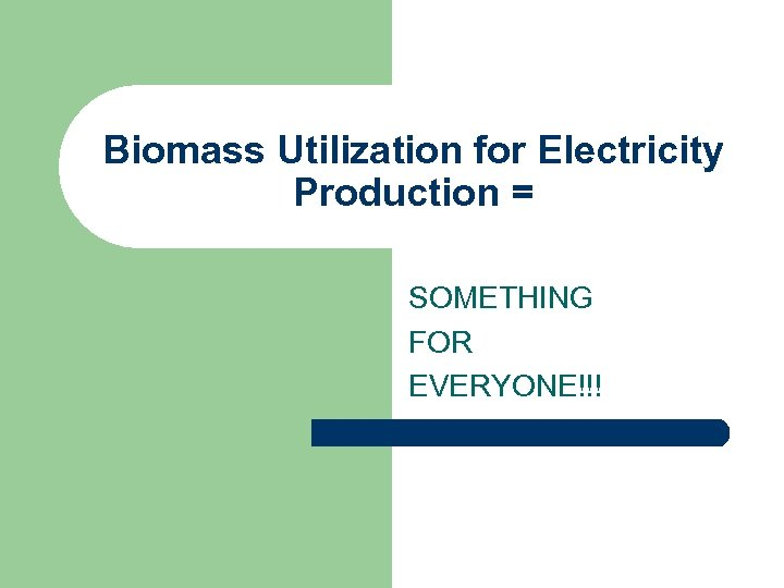 Biomass Utilization for Electricity Production = SOMETHING FOR EVERYONE!!!