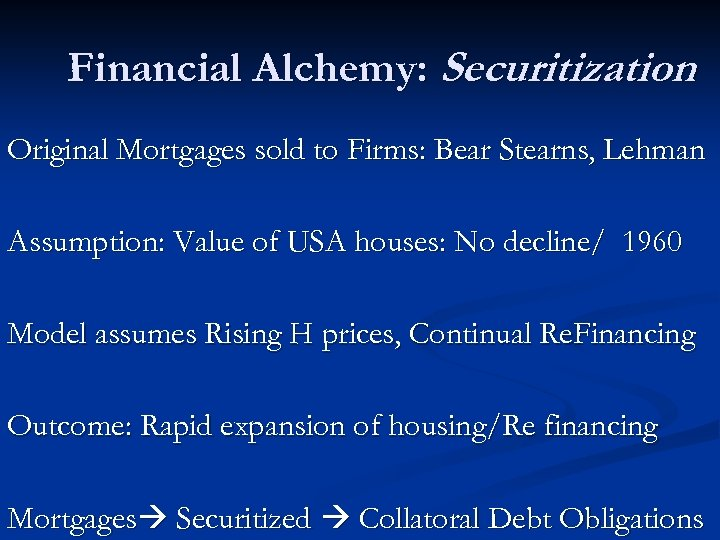 Financial Alchemy: Securitization Original Mortgages sold to Firms: Bear Stearns, Lehman Assumption: Value of