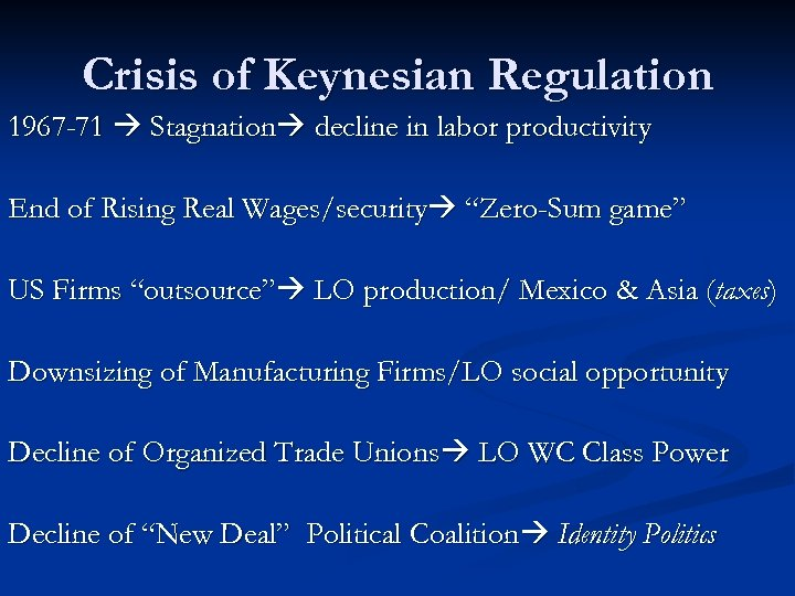 Crisis of Keynesian Regulation 1967 -71 Stagnation decline in labor productivity End of Rising