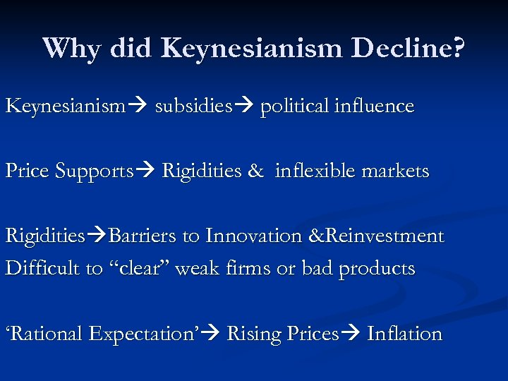 Why did Keynesianism Decline? Keynesianism subsidies political influence Price Supports Rigidities & inflexible markets