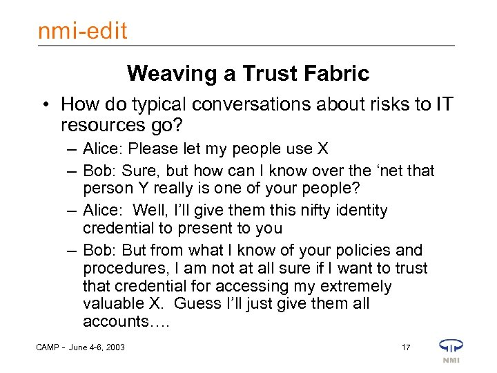 Weaving a Trust Fabric • How do typical conversations about risks to IT resources