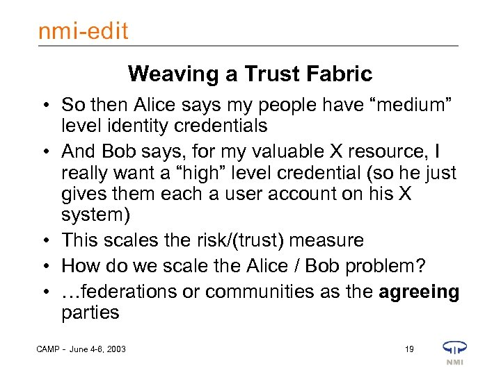 """Weaving a Trust Fabric • So then Alice says my people have """"medium"""" level"""
