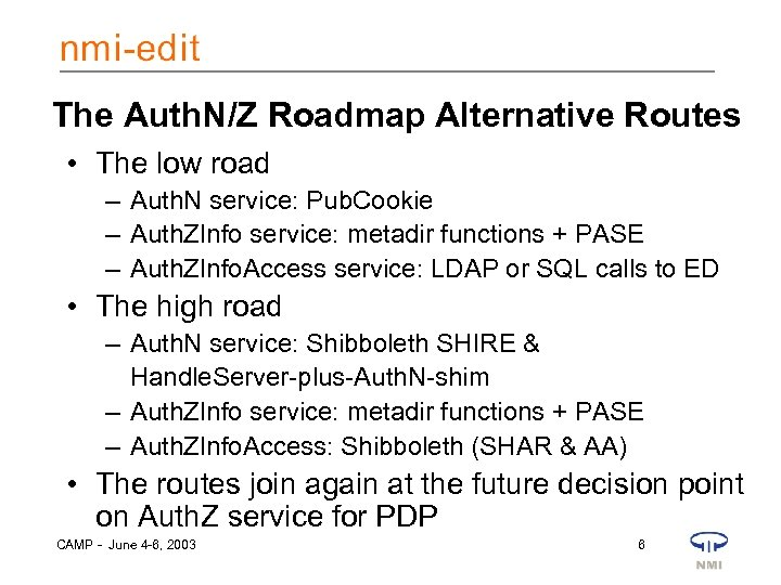 The Auth. N/Z Roadmap Alternative Routes • The low road – Auth. N service:
