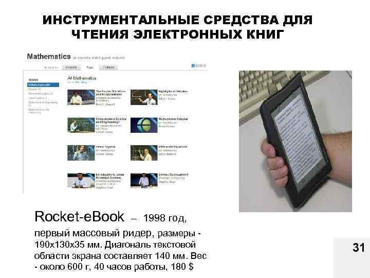 ИНСТРУМЕНТАЛЬНЫЕ СРЕДСТВА ДЛЯ ЧТЕНИЯ ЭЛЕКТРОННЫХ КНИГ Rocket-e. Book – 1998 год, первый массовый ридер,