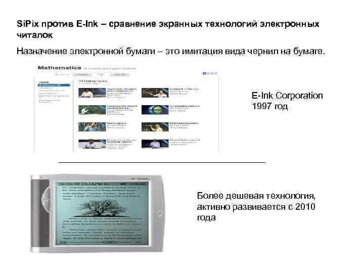 Si. Pix против E-Ink – сравнение экранных технологий электронных читалок Назначение электронной бумаги –