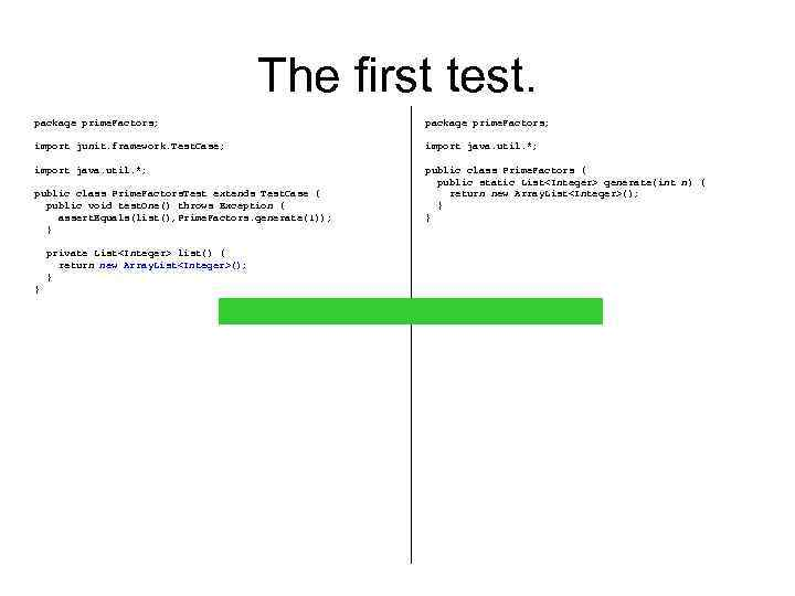The first test. package prime. Factors; import junit. framework. Test. Case; import java. util.