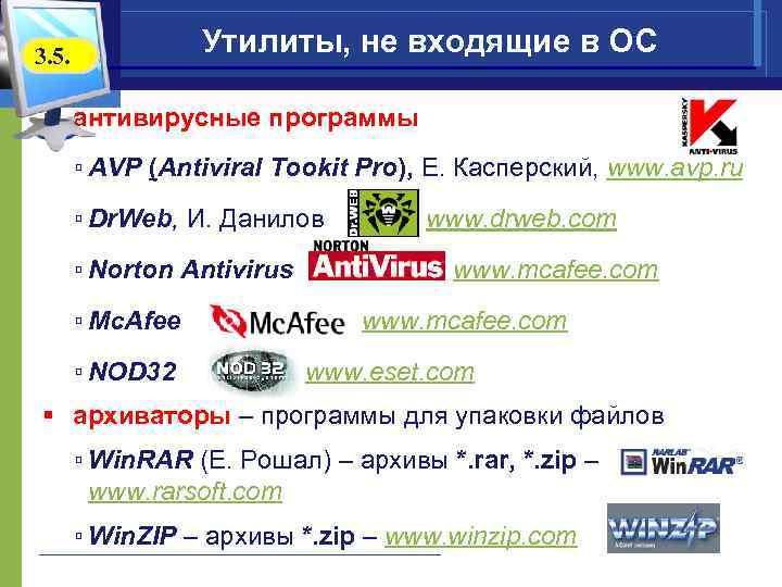 Утилиты, не входящие в ОС 3. 5. § антивирусные программы ▫ AVP (Antiviral Tookit