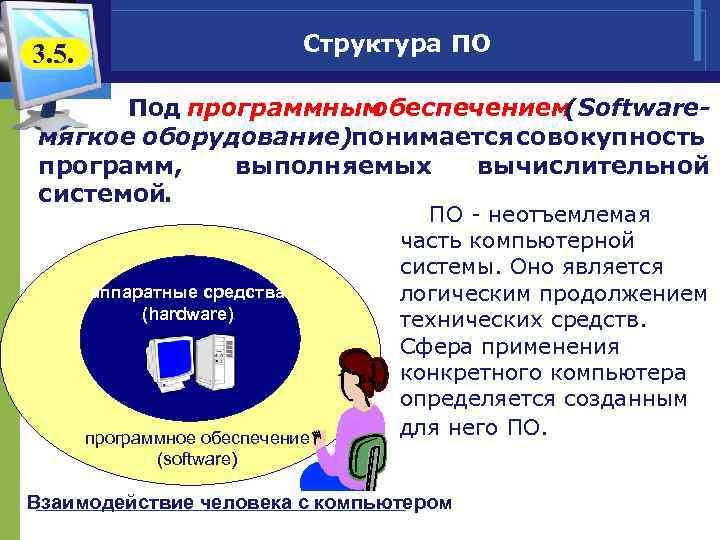 Структура ПО 3. 5. Под программным обеспечением (Softwareмягкое оборудование) онимается совокупность п программ, выполняемых