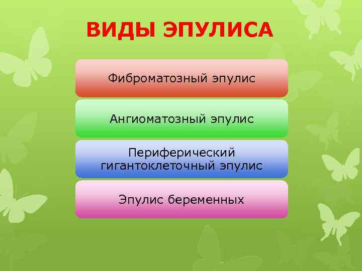 ВИДЫ ЭПУЛИСА Фиброматозный эпулис Ангиоматозный эпулис Периферический гигантоклеточный эпулис Эпулис беременных