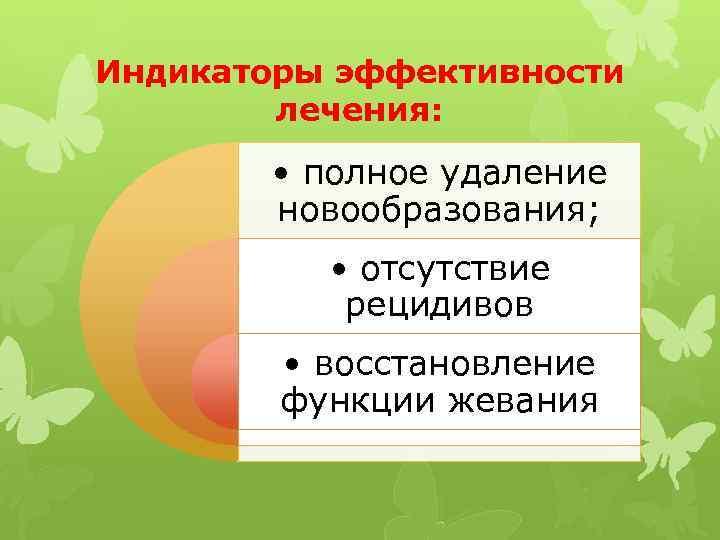 Индикаторы эффективности лечения: • полное удаление новообразования; • отсутствие рецидивов • восстановление функции жевания