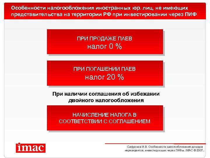Особенности налогообложения иностранных юр. лиц, не имеющих представительства на территории РФ при инвестировании через