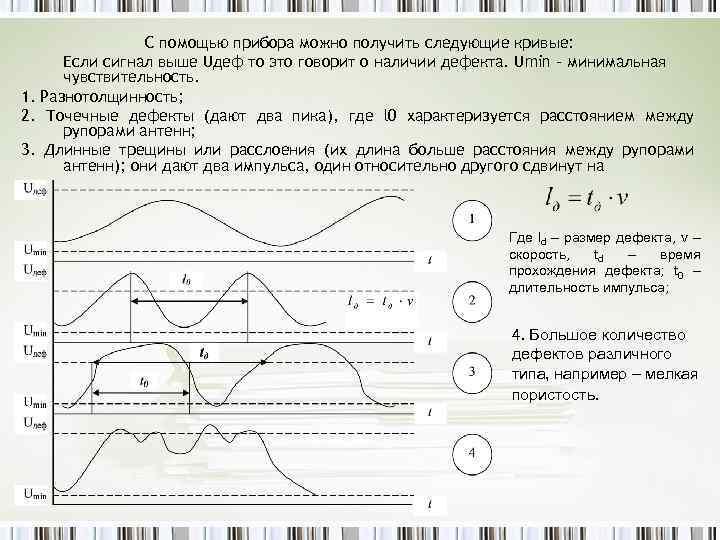 С помощью прибора можно получить следующие кривые: Если сигнал выше Uдеф то это говорит