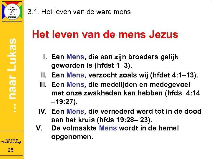 3. 1. Het leven van de ware mens Het leven van de mens Jezus