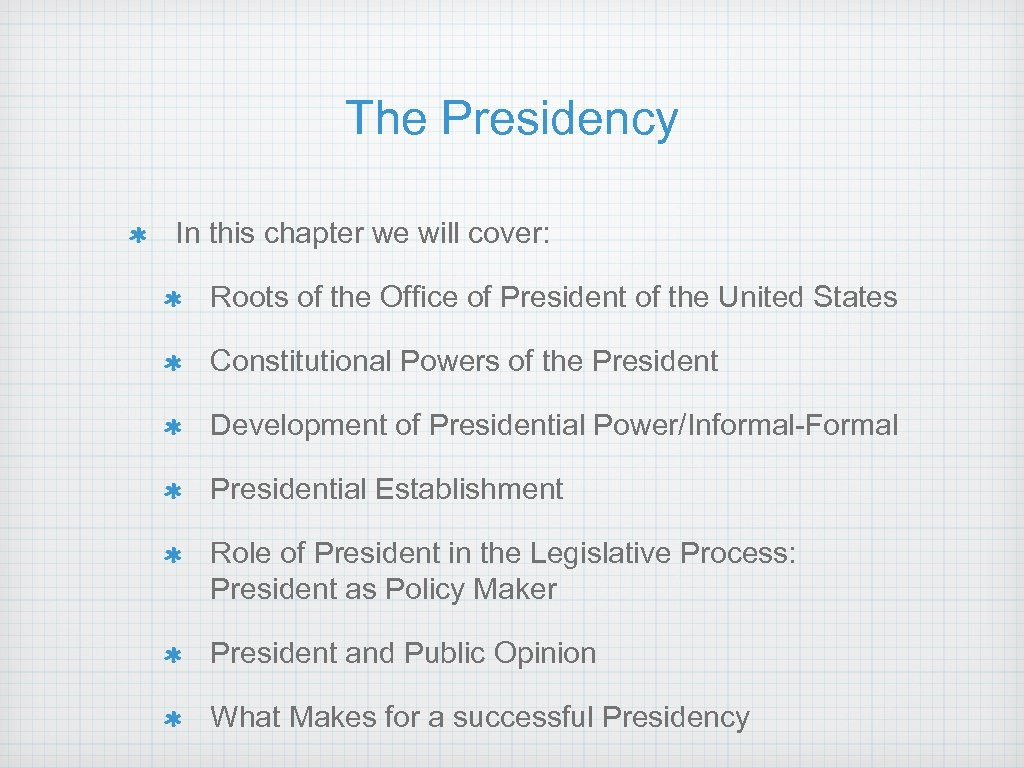 The Presidency In this chapter we will cover: Roots of the Office of President