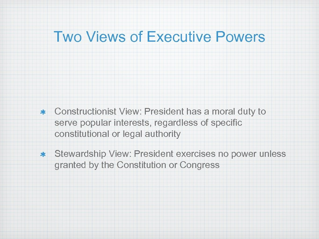 Two Views of Executive Powers Constructionist View: President has a moral duty to serve
