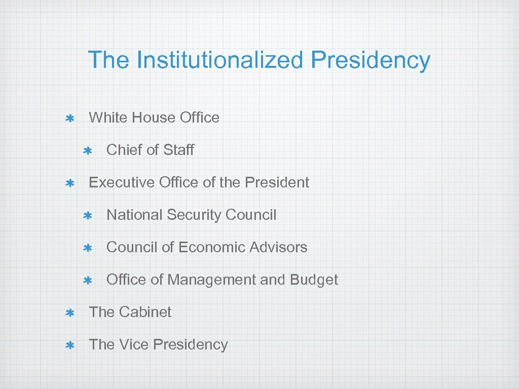 The Institutionalized Presidency White House Office Chief of Staff Executive Office of the President