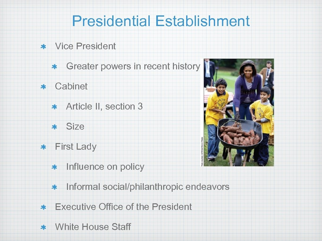 Presidential Establishment Vice President Greater powers in recent history Cabinet Article II, section 3