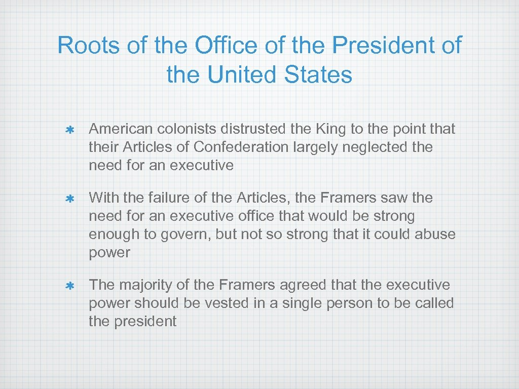 Roots of the Office of the President of the United States American colonists distrusted