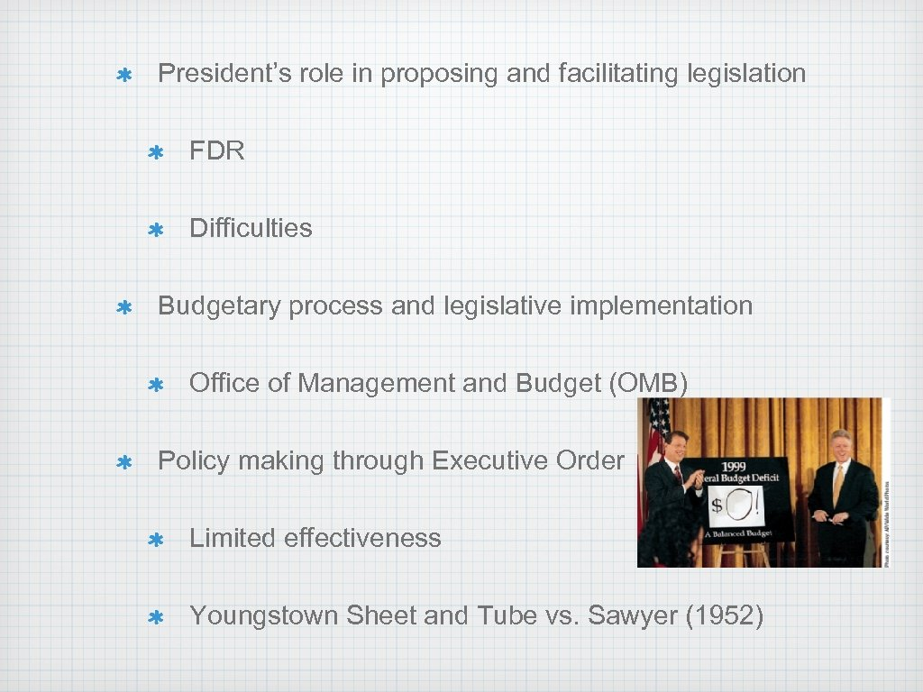 President's role in proposing and facilitating legislation FDR Difficulties Budgetary process and legislative implementation
