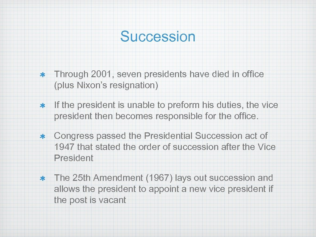 Succession Through 2001, seven presidents have died in office (plus Nixon's resignation) If the