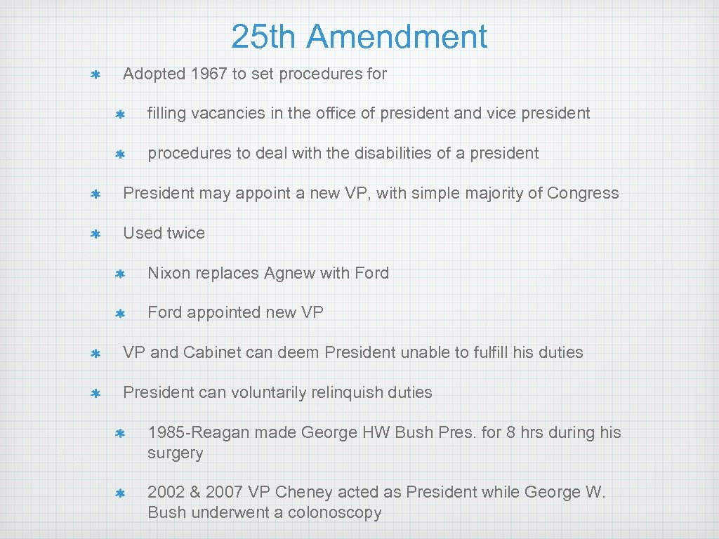 25 th Amendment Adopted 1967 to set procedures for filling vacancies in the office