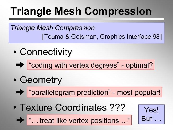 "Triangle Mesh Compression [Touma & Gotsman, Graphics Interface 98] • Connectivity ""coding with vertex"