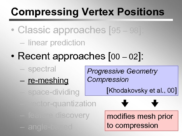 Compressing Vertex Positions • Classic approaches [95 – 98]: – linear prediction • Recent