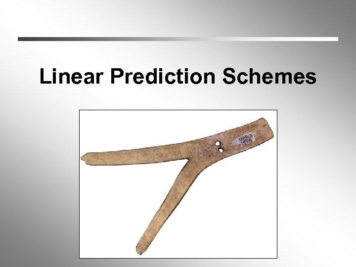 Linear Prediction Schemes